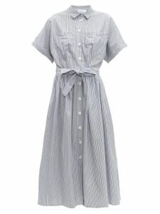Loup Charmant - Pamlico Striped Cotton Poplin Midi Dress - Womens - Blue White