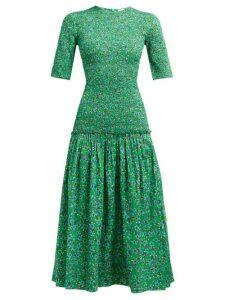 Rhode - Zola Shirred Floral Print Cotton Midi Dress - Womens - Green Print
