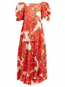 Rhode - Aurora Rose Print Voile Midi Dress - Womens - Red White