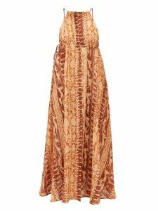 Cult Gaia - Agatha Soleil Print Silk Dress - Womens - Brown