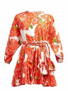 Rhode - Ella Rose Print Cotton Mini Dress - Womens - Red White