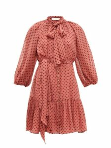 Zimmermann - Espionage Polka Dot Chiffon Mini Dress - Womens - Pink Print