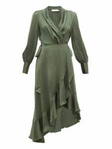Zimmermann - Espionage Silk Charmeuse Wrap Dress - Womens - Green