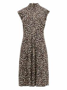 La Doublej - Bon Ton Leopard Print Frill Sleeve Dress - Womens - Leopard