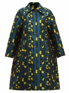La Doublej - Single Breasted Splatter Jacquard Coat - Womens - Green Print