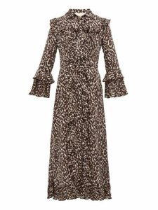 La Doublej - Leopard Print Georgette Midi Dress - Womens - Leopard