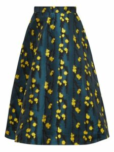 La Doublej - Floral Jacquard High Waisted Midi Skirt - Womens - Green Print