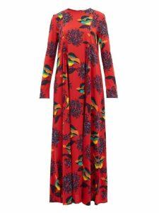La Doublej - Trapezio Floral Print Crepe Dress - Womens - Red