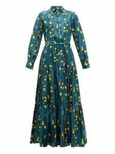 La Doublej - Bellini Floral Print Silk Twill Tiered Shirt Dress - Womens - Green Print