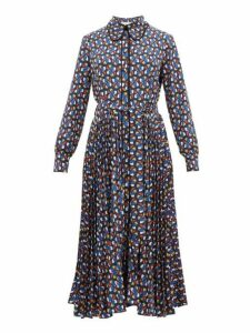 La Doublej - Pinwheel Print Pleated Skirt Shirtdress - Womens - Blue Print