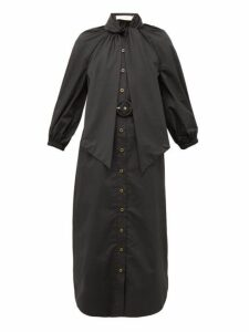 Zimmermann - Espionage Pussybow Belted Cotton Shirt Dress - Womens - Black
