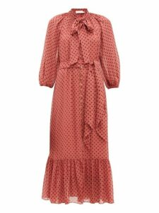 Zimmermann - Espionage Pussy Bow Polka Dot Print Crepe Dress - Womens - Pink Print