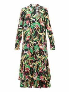 La Doublej - Good Witch Floral Print Georgette Dress - Womens - Blue Multi