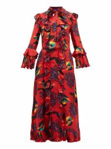 La Doublej - Floral Print Ruffle Trimmed Silk Midi Dress - Womens - Red Print