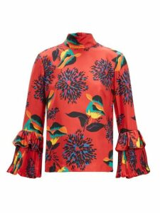 La Doublej - Floral-print Silk-twill Blouse - Womens - Red Print