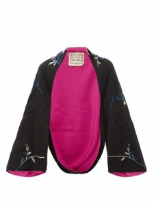 By Walid - Fatma Embroidered Chinese Silk Kimono - Womens - Black