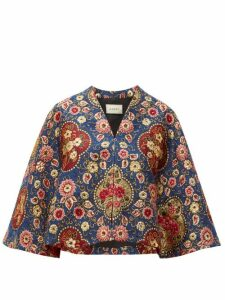 Gucci - Floral Brocade Cape - Womens - Blue