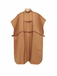 Burberry - Leather Harness Wool Blend Cape - Womens - Camel