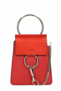 Chloé Faye Braccialet Shoulder Bag In Red Suede And Leather