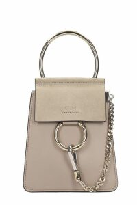 Chloé Faye Con Bracci Shoulder Bag In Grey Suede And Leather