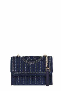 Tory Burch Fleming Shoulder Bag In Blue Velvet