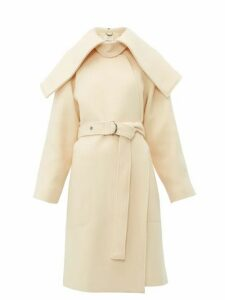 Chloé - Iconic Shawl Lapel Belted Wool Blend Coat - Womens - Cream