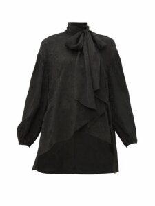 Chloé - Crinkled Flower Jacquard Pussy Bow Blouse - Womens - Black