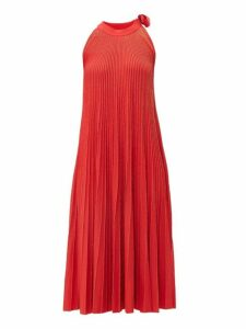 Elie Saab - Tie Neck Metallic Ribbed Knit Midi Dress - Womens - Red