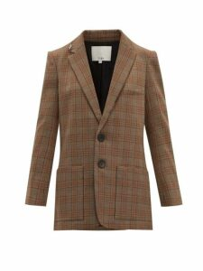 Tibi - James Single Breasted Checked Blazer - Womens - Brown