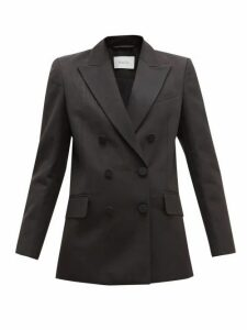 Racil - Audrey Double Breasted Cotton Blend Moiré Blazer - Womens - Black