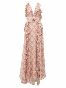 Jonathan Simkhai - Ruffled Tile Print Silk Blend Gown - Womens - Beige Multi