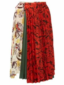 Toga - Contrast Print Pleated Midi Skirt - Womens - Ivory