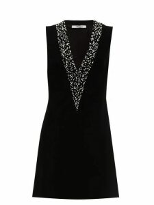 Givenchy - Pearl Embroidered Velvet Mini Dress - Womens - Black
