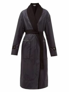 Loewe - Reversible Layered Nylon And Wool Coat - Womens - Navy