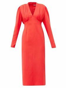 Emilia Wickstead - Iliana Gathered Crepe Midi Dress - Womens - Red