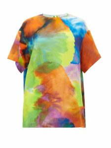 Raey - Long Line Neon Tie Dye Print Silk Top - Womens - Multi