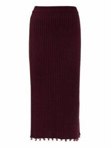Staud - Costa Beaded Cotton Midi Skirt - Womens - Brown