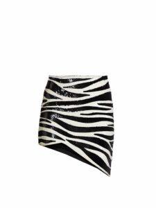 Saint Laurent - Zebra Sequinned Asymmetric Mini Skirt - Womens - Black White