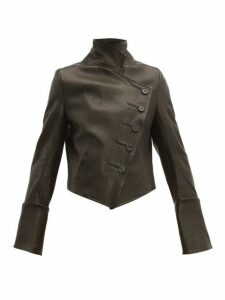 Ann Demeulemeester - Sabine Double Breasted Leather Jacket - Womens - Black