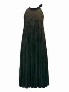 Elie Saab - Tie Neck Metallic Ribbed Knit Midi Dress - Womens - Black