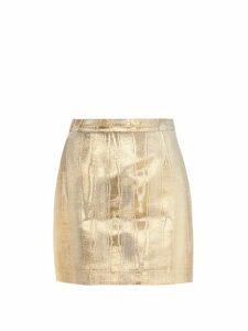 Racil - Gina Metallic Moire Mini Skirt - Womens - Gold