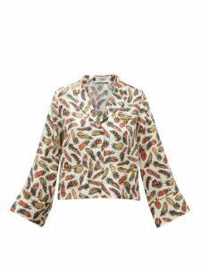 La Prestic Ouiston - Feather Print Silk Twill Pyjama Blouse - Womens - White Multi