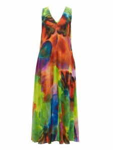 Raey - Neon Tie Dye Print Silk Dress - Womens - Multi