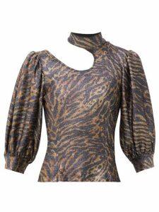 Ganni - Tiger Print Puff Sleeve Lurex Knit Top - Womens - Animal