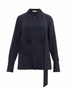 Tibi - Exaggerated Collar Neck Tie Blouse - Womens - Navy