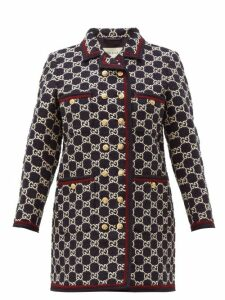 Gucci - Gg Monogram Tweed Single Breasted Coat - Womens - Navy Multi