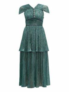 Peter Pilotto - Tiered Plissé Lamé Midi Dress - Womens - Green