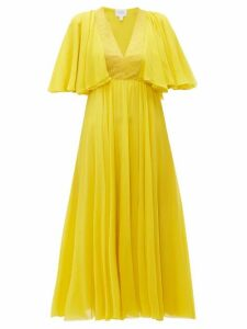 Giambattista Valli - Butterfly Sleeve Silk Chiffon Midi Dress - Womens - Yellow