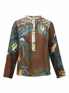 La Prestic Ouiston - Romee Floral Print Silk Twill Blouse - Womens - Brown Multi