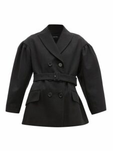 Simone Rocha - Double Breasted Belted Twill Blazer - Womens - Black